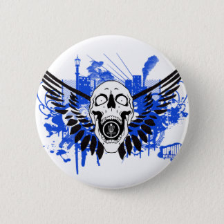 Flying Disc Golf Skull 2 Inch Round Button