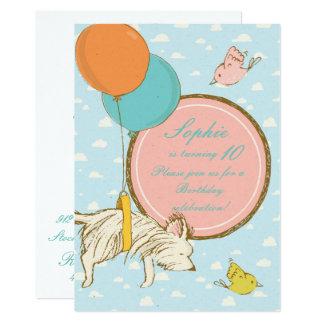 Flying dog and birds- Children Birthday Invitation