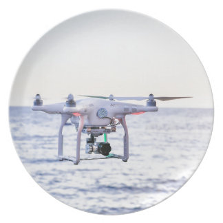 Flying drone at coast above sea plate