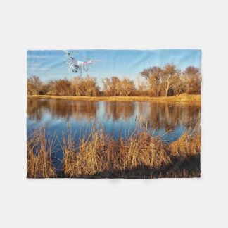 Flying drone fleece blanket