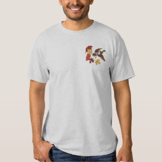Flying Duck and Fall Leaves Embroidered T-Shirt