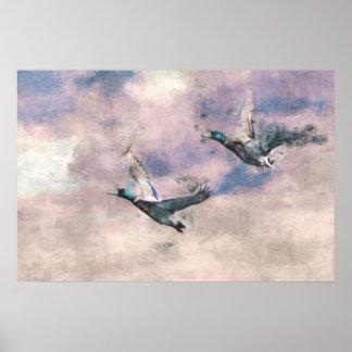Flying Ducks Poster