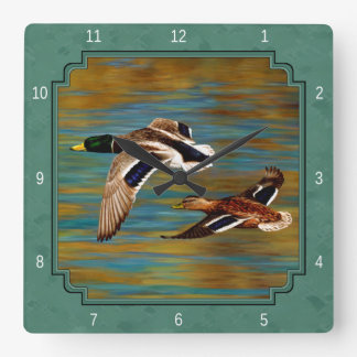 Flying Ducks Sea Mist Green Square Wall Clock