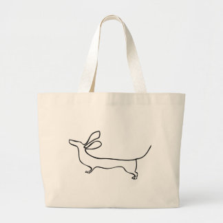 Flying ears Dachshund one line illustration Large Tote Bag