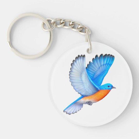 Flying Eastern Bluebird Acrylic Keychain