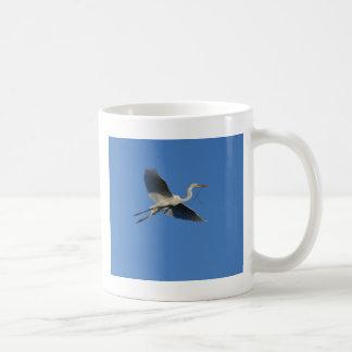 Flying Egret with Twig Coffee Mug