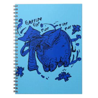 flying elephant blue spiral notebooks