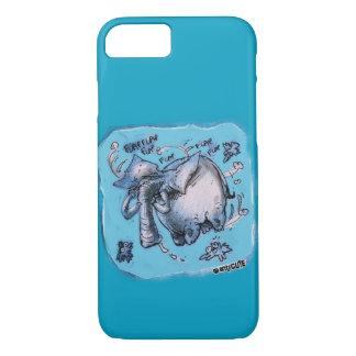 flying elephant cartoon style funny illustration iPhone 8/7 case