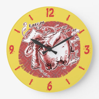 flying elephant cartoon style funny illustration large clock
