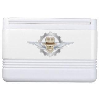 Flying Fedora Skull Dieselpunk Igloo 12 Can Cooler