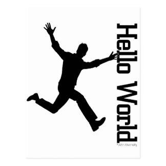 Flying Figure Black/White Grphic Art Postcard