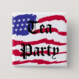 Flying Flag Tea Party 2 Inch Square Button