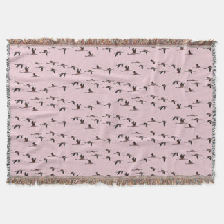 Flying Flamingos Throw Blanket (Dusty Pink)