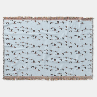 Flying Flamingos Throw Blanket (Light Blue)