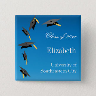 Flying Graduation Caps 2 Inch Square Button