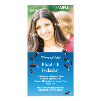 Flying Graduation Caps Photo Card Template