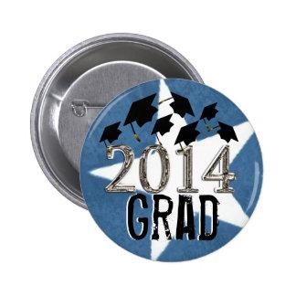 Flying Graduation Hats 2014 Grunge Star Button Pin