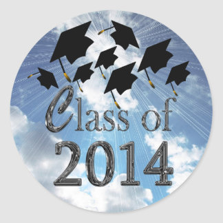 Flying Graduation Hats Class Of 2014 Stickers