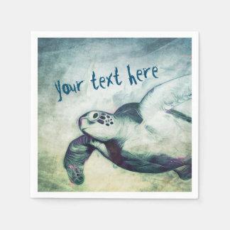 Flying Green Sea Turtle   Custom Paper Napkin