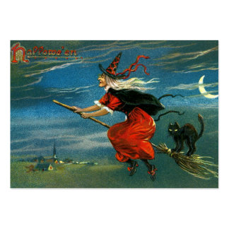 Flying Halloween Witch with Cat Pack Of Chubby Business Cards