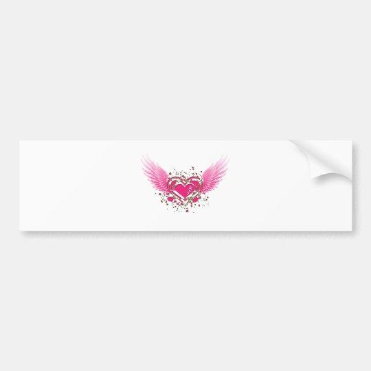 flying heart bumper sticker