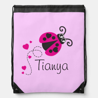 Flying heart ladybug kids name pink drawstring bag