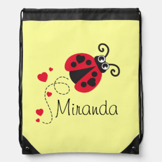Flying heart ladybug kids name red drawstring bag