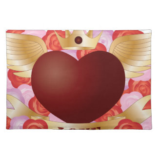 Flying Heart with Banner and Roses Placemat