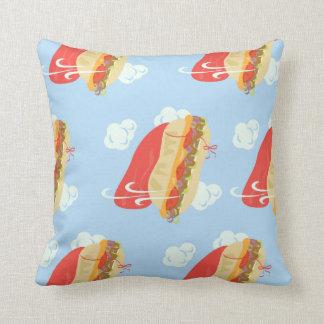 Flying Hero Sandwich Fun Throw Pillow