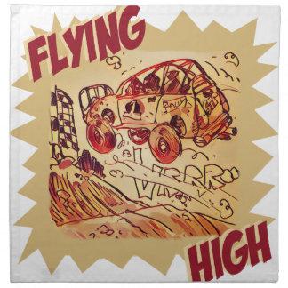 flying high rally car printed napkins