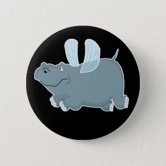 Flying Hippo 2 Inch Round Button