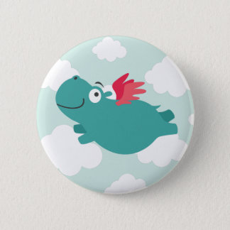 Flying Hippo Illustration 2 Inch Round Button