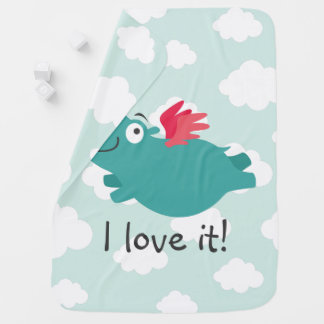 Flying Hippo Illustration Baby Blanket
