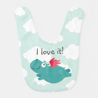 Flying Hippo Illustration Bib