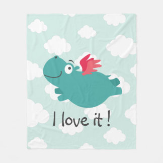 Flying Hippo Illustration Fleece Blanket