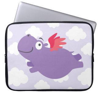 Flying Hippo Illustration Laptop Sleeve