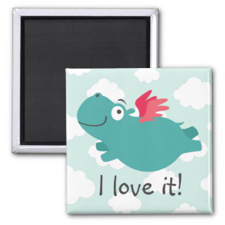 Flying Hippo Illustration Magnet