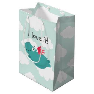 Flying Hippo Illustration Medium Gift Bag