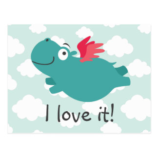 Flying Hippo Illustration Postcard