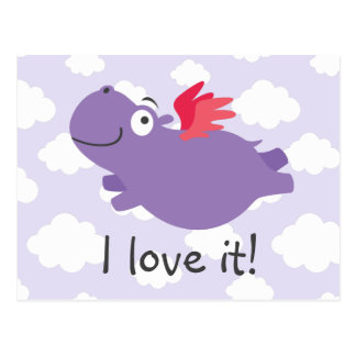 Flying Hippo Illustration Postcard