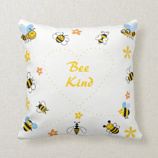 Flying Honey Bumble Busy Cute Bee Flowers Throw Pillow