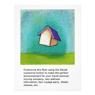 Flying house traveling home fun colorful happy art flyer design