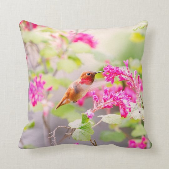 Flying Hummingbird and Red Currant Flowers Throw Pillow