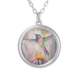 Flying Hummingbird Silver Plated Necklace