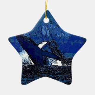 Flying Humpback Whale with heart gifts Ceramic Ornament