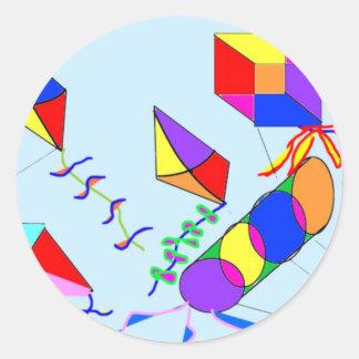 flying-kites classic round sticker