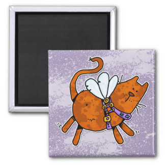 flying kitty square magnet