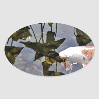 Flying Koi Oval Sticker
