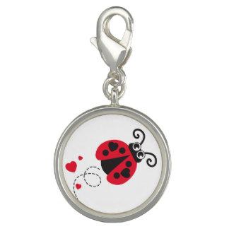 Flying ladybug heart red black white charm
