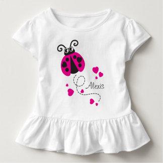 Flying ladybug hearts pink name t-shirt